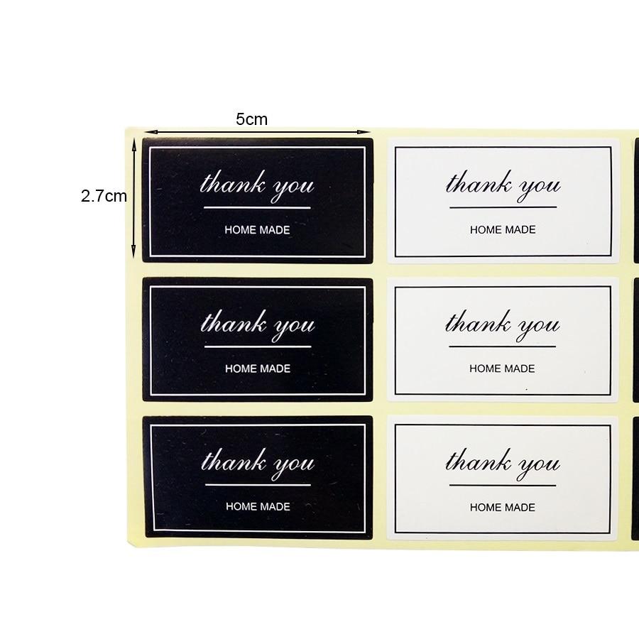 Купить с кэшбэком 100pcs/lot Black And White 'Thank You' Rectangular Seal Sticker Gift Sticker For DIY Homemade Bakery Packaging Decoration Label