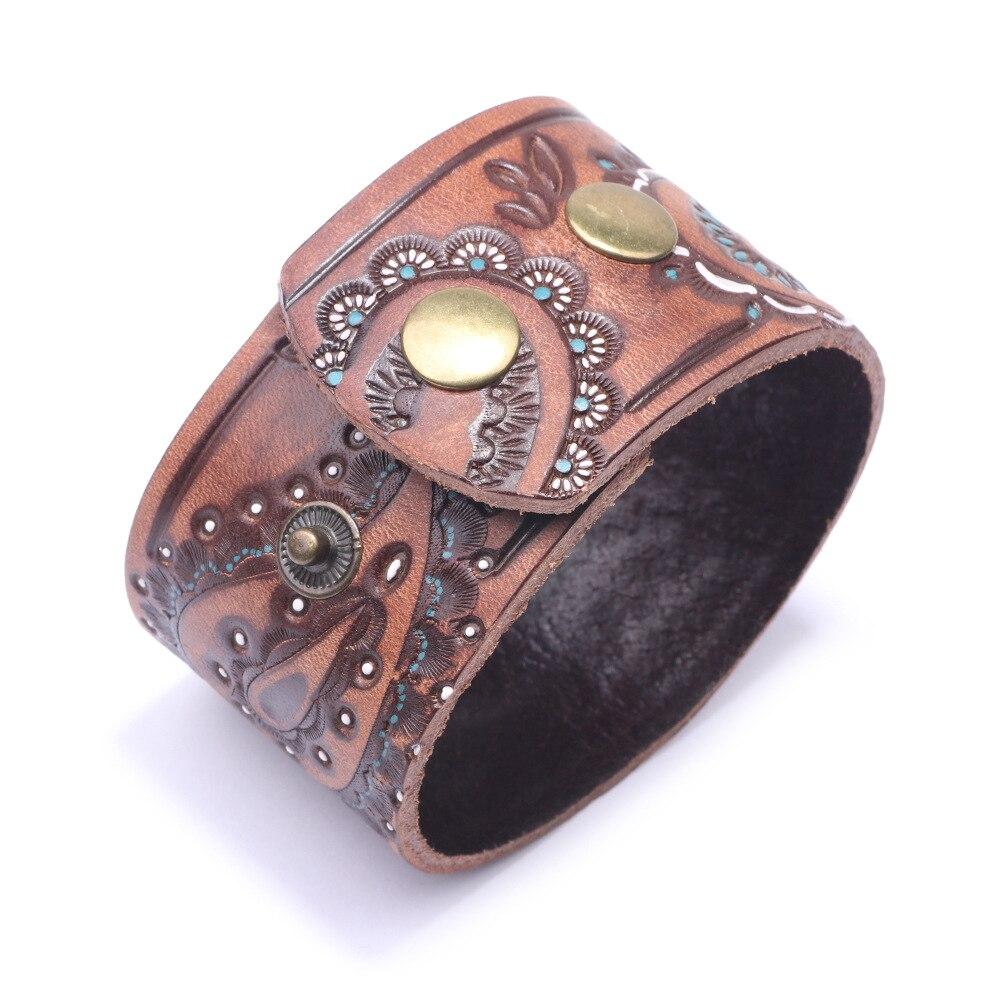 Kirykle hommes marron noir Vintage en cuir véritable bracelets large Bracelet en cuir pour les femmes Bracelet en forme de cellule Punk bijoux à breloques 4
