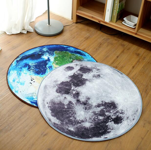 Nouveau Rétro 3D Terre Et Lune Ronde Tapis Rond Tapis Pour Les