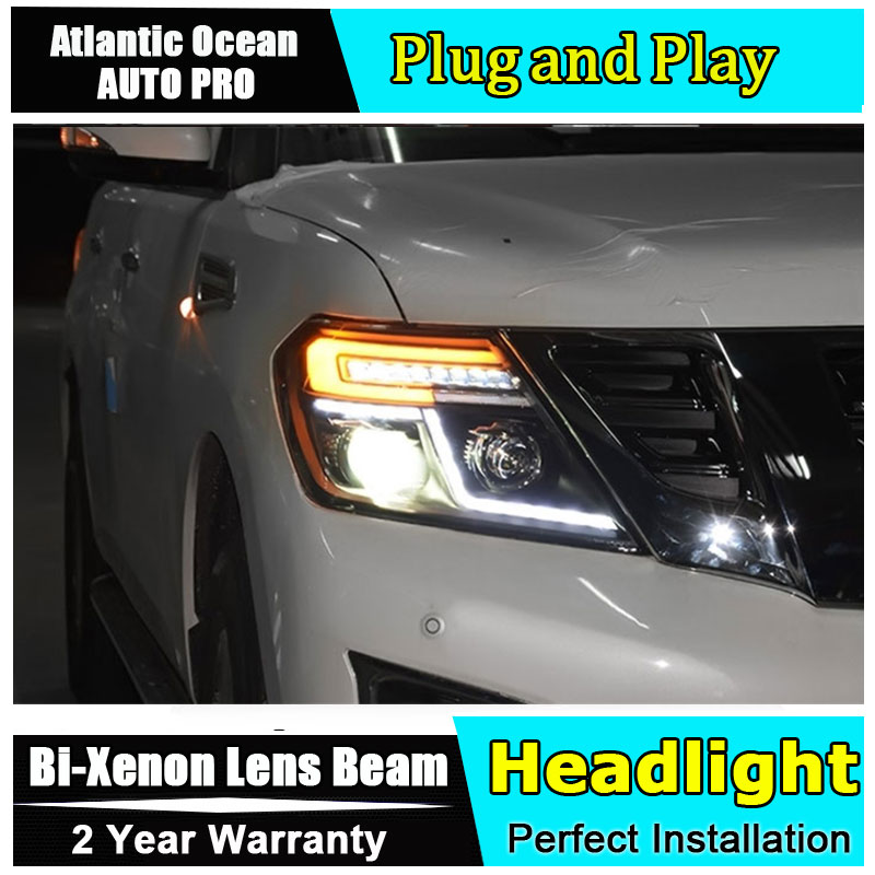Auto part Style LED Head Lamp for Nissan patrol led headlight 2012-2017 for patrol drl H7 hid Bi-Xenon Lens angel eye low beam hireno headlamp for 2012 2016 mazda cx 5 headlight headlight assembly led drl angel lens double beam hid xenon 2pcs
