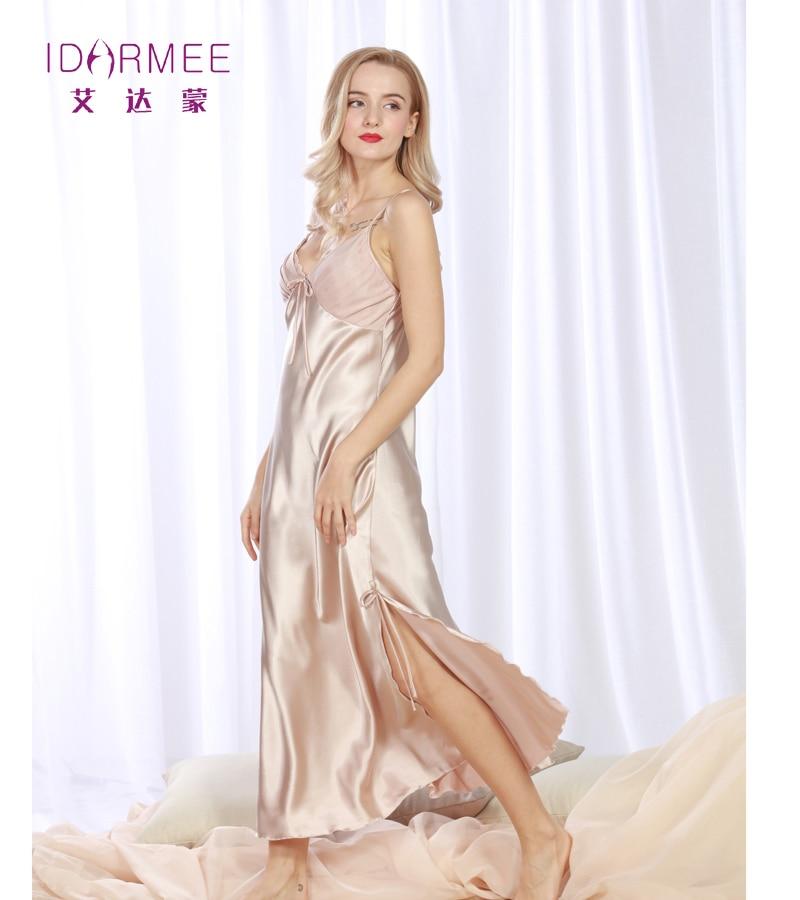 IDARMEE S1012 Brand Upscale Women Nightgowns Faux Silk Plus Size Lingerie Sexy Splitting Long Lace Sleepwear Chemises