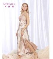 Idarmee S1012 الراقية النساء قمصان النوم فو الحرير زائد حجم مثير تقسيم طويلة الدانتيل النوم القمص
