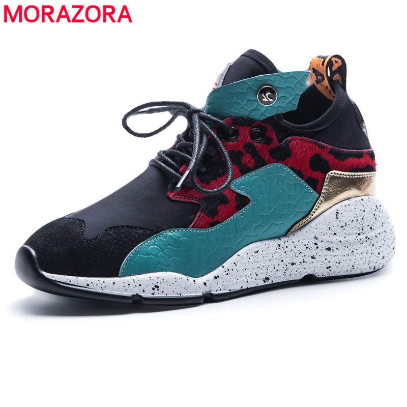 MORAZORA EUR SIZE 35-42 Hot 2018 New Women sneakers lace up round toe light comfortable casual shoes spring summer ladies flats instantarts women flats emoji face smile pattern summer air mesh beach flat shoes for youth girls mujer casual light sneakers
