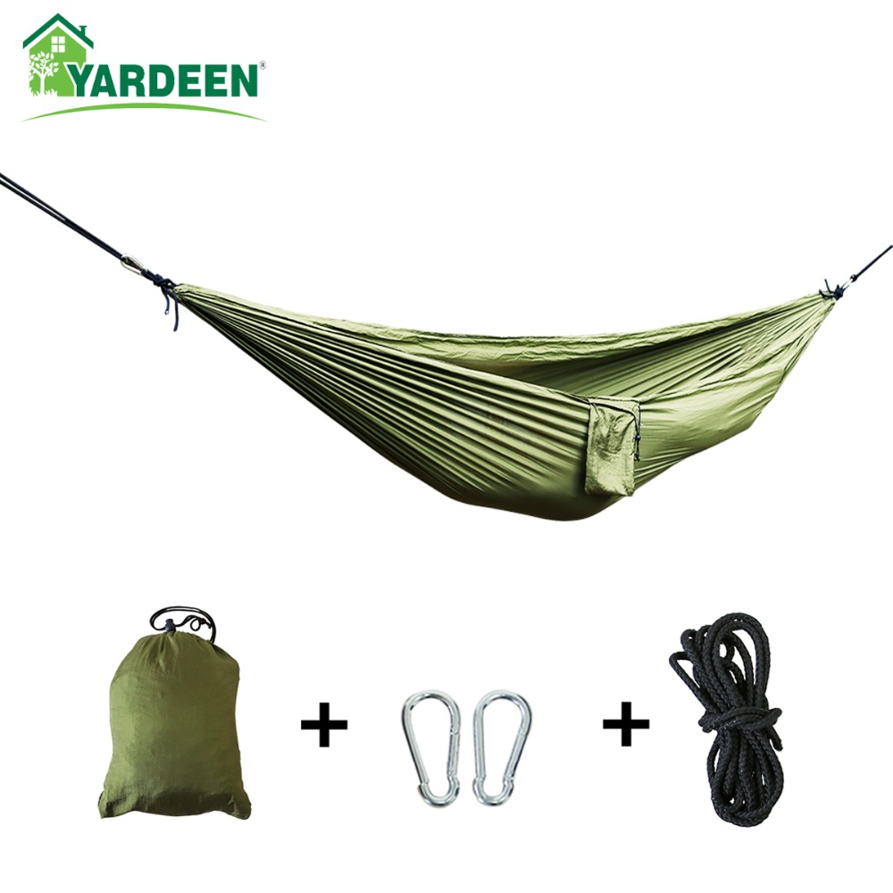 Single & Double Camping Hammock with Hammock Tree Straps 260*140cm Portable Parachute Nylon Hammock for Backpacking Travel portable nylon single or double person hammock parachute parachute fabric hammock for travel hiking backpacking camping hammock