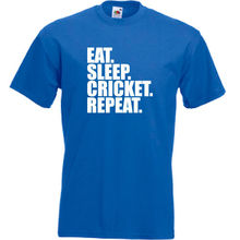 Eat. Sleep. Cricket. Repeat. T Shirt Sporter Funny Mens Childrens Kids Tee 100% Cotton Short Sleeve O-Neck Tops Shirts