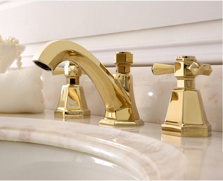 New Arrival Top High Quality Gold Finished Bathroom Sink 8 Inch Widespread  Basin Faucet Widespread Sink Faucet Tap In Basin Faucets From Home  Improvement On ...