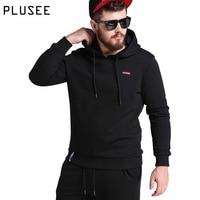 Plusee Hoodies Men Sportswear Black Sweatshirt Men S Hooded Plus Size 2017 Spring Casual Loose Print