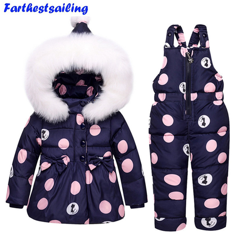 Baby Boys Girls Winter Duck Down Jackets Children Warm Outerwear Coat+Pant Clothing Set Snowsuit Kids Clothes Parka Snow Wear buenos ninos thick winter children jackets girls boys coats hooded raccoon fur collar kids outerwear duck down padded snowsuit