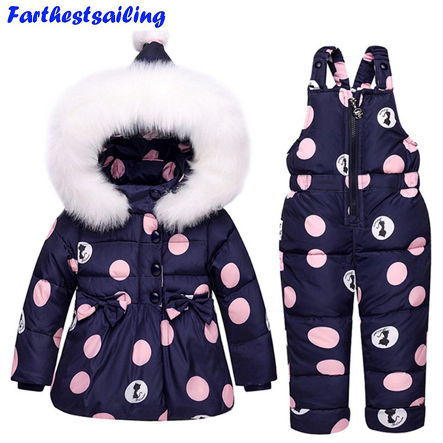 Special Price Baby Boys Girls Winter Duck Down Jackets Children Warm Outerwear Coat+Pant Clothing Set Snowsuit Kids Clothes Parka Snow Wear
