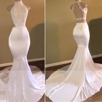 White Lace Sexy Backless Prom Dresses 2018 African Black Girls Long Vestido De Festa Formal Evening Gowns for Party Gowns