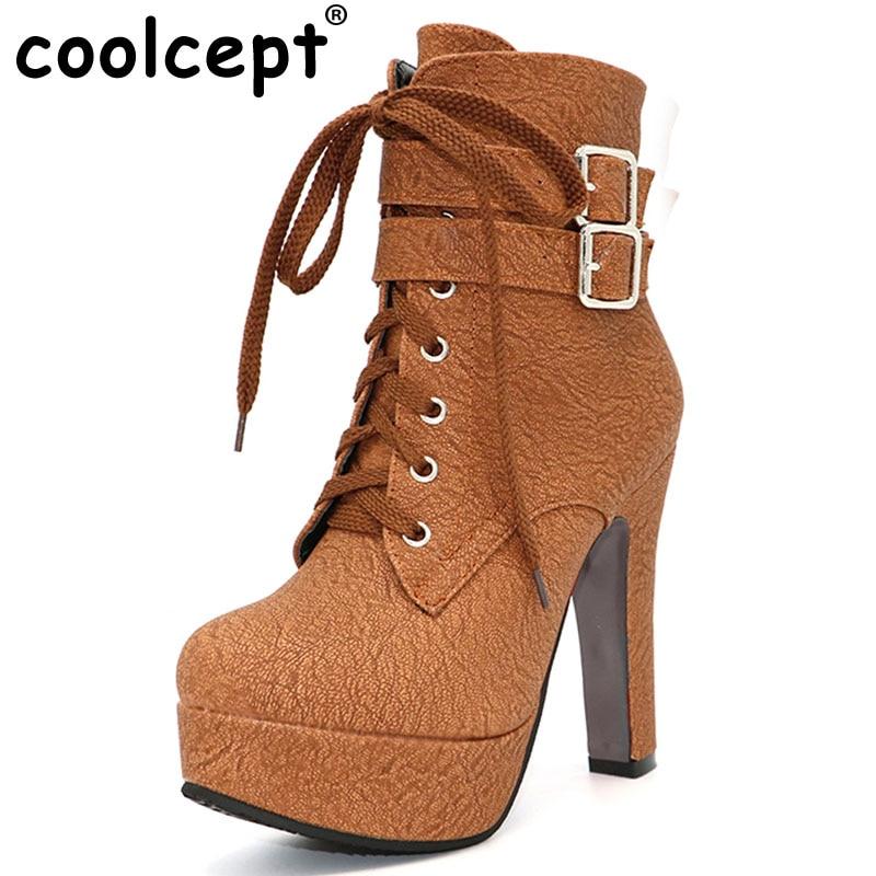Coolcept Fashion Women Boots High Heels Ankle Boots Platform Shoes Brand Women Shoes Autumn Winter Botas Mujer Size 30-48 vtota spring autumn martin boots fashion boots women high heels shoes woman botas mujer ankle boots platform bota feminina fc24