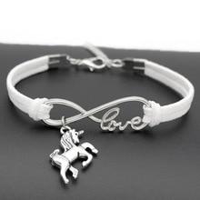 Leather Bracelet with Unicorn Charm