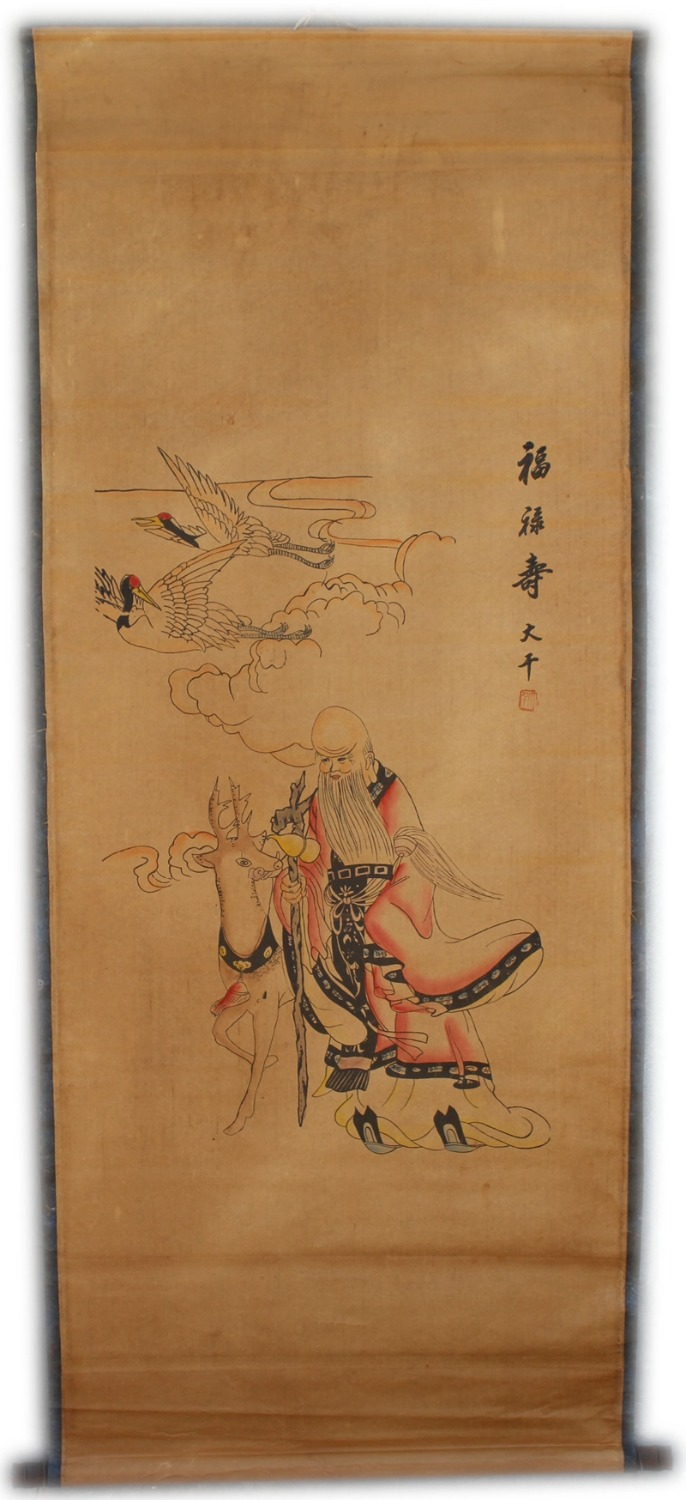 Rare Hand-painted QingDyansty Chinese vertical axis paintings,Eastern Santa Claus,hand drawn, free shippingRare Hand-painted QingDyansty Chinese vertical axis paintings,Eastern Santa Claus,hand drawn, free shipping