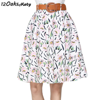 12 OAKS OF KATY Women Fashion Belt Not Included Knee Length Pleated Skirt Pink And Green