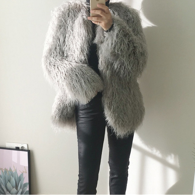 2020 autumn winter new fur coats female pink fashionable was thin long hair imitation wool Hairy fur coat parkas Women Top