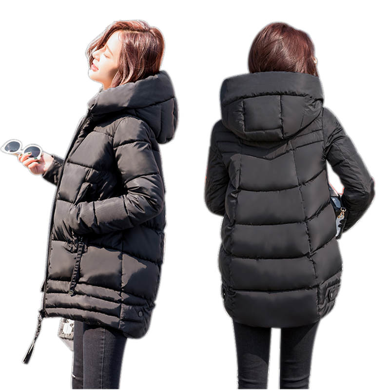 Cotton Wadded Winter Jacket Women Hooded Black Long Women   Parka   Mujer Warm Winter Coat Chaquetas Mujer Cotton Woman Coat C4782