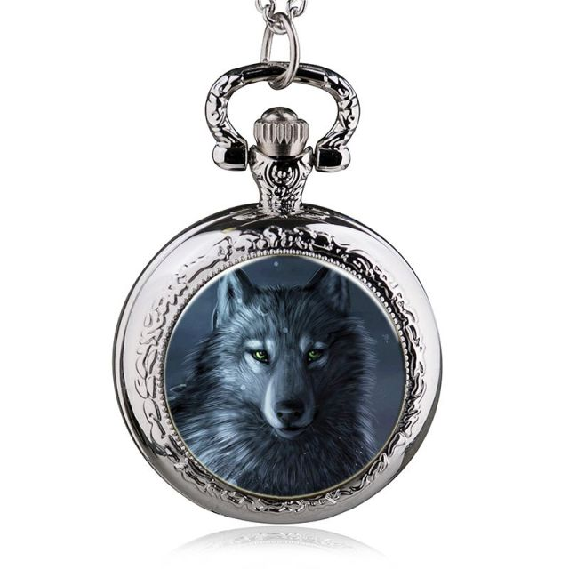 2017 New Fashion Personality Trend Wolf Pocket Watch Necklace Men And Women Watc