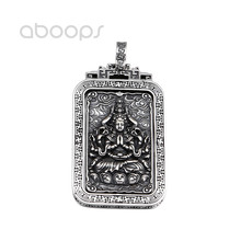 Vintage 925 Sterling Silver Buddhism Buddha Amulet Spinning Pendant for Men Women Free Shipping handcrafted 100% 999 silver buddha head pendant vintage pure silver buddha statue amulet pendant buddha