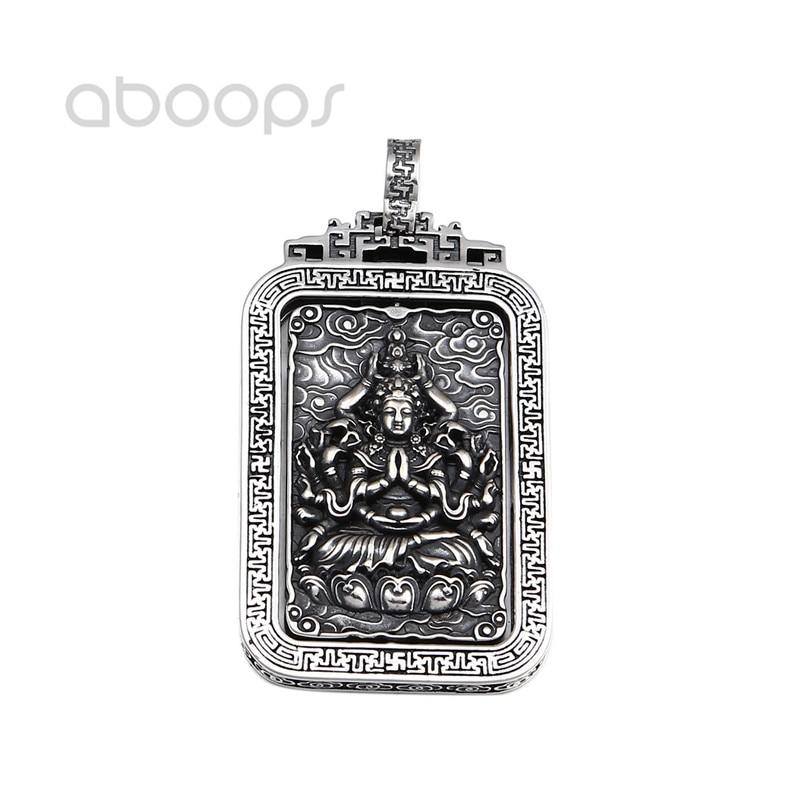 Vintage 925 argent Sterling bouddhisme bouddha amulette filature pendentif pour hommes femmes livraison gratuite