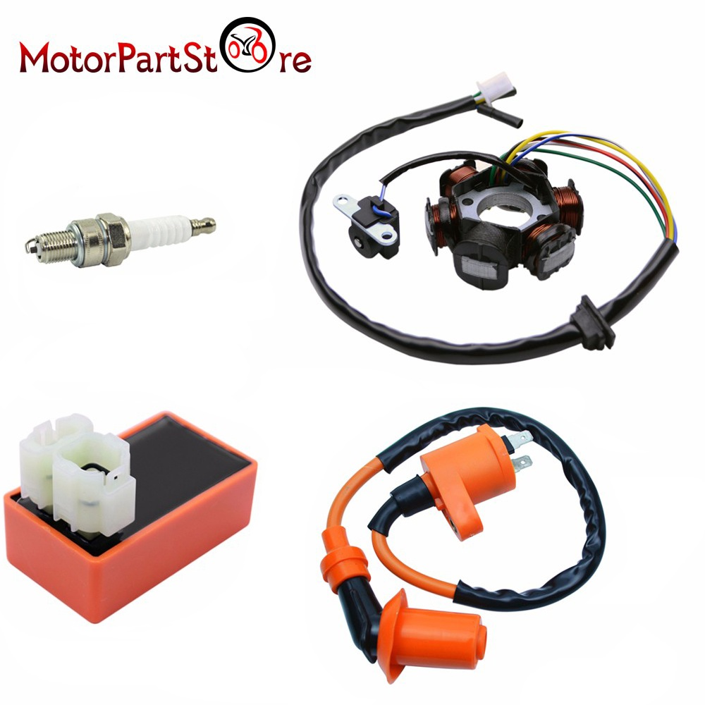 Magneto Stator Racing Ignition Coil 6 Pins AC CDI Box Spark Plug for Chinese GY6 49cc 50cc Engine Moped Scooter D10
