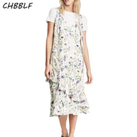 New Summer European Small Floral Print Dress Lady Sleeveless Spaghetti Strap V Neck Cute Trumpet Long