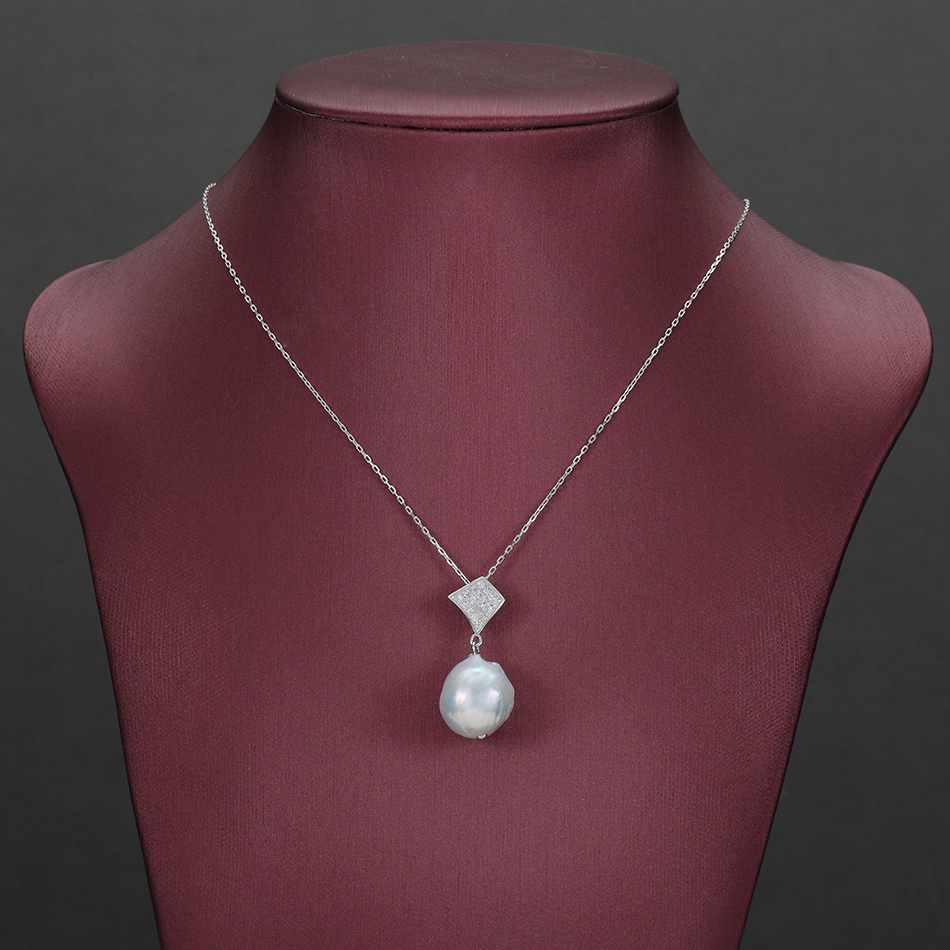 Big Baroque Pearl Pendant Necklaces for Women Anniversary Jewelry Gifts 13MM Freshwater Pearls 925 Sterling Silver Chain FEIGE in Necklaces from Jewelry Accessories