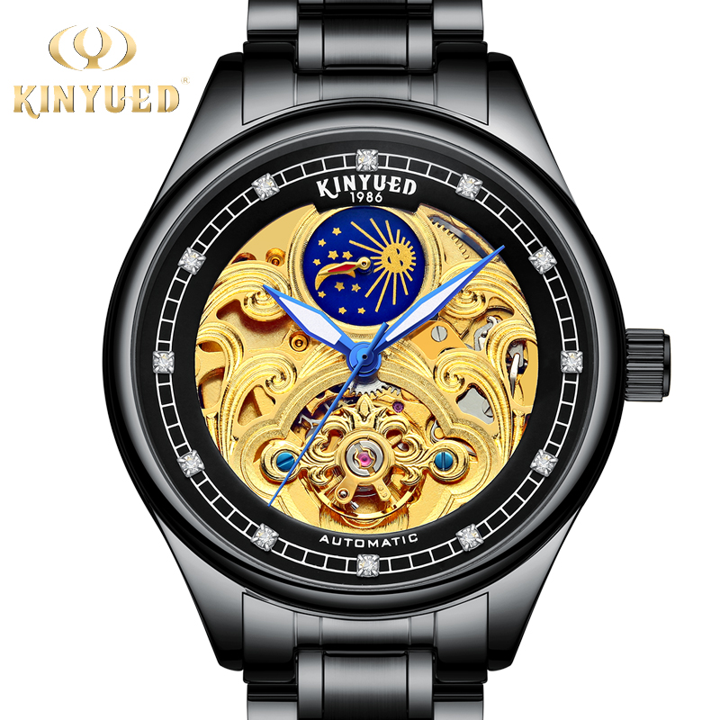 KINYUED Luxury Brand Mens Mechanical Wristwatch Automatic Self-Wind Moon Phase Watch Stainless Steel Tourbillon horloges mannenKINYUED Luxury Brand Mens Mechanical Wristwatch Automatic Self-Wind Moon Phase Watch Stainless Steel Tourbillon horloges mannen