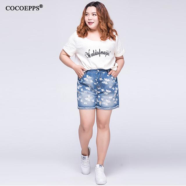 Verano agujero denim shorts mujeres Moda de cintura alta impresión de la mariposa corto hemming jeans Pocket decora jeans shorts Más El tamaño