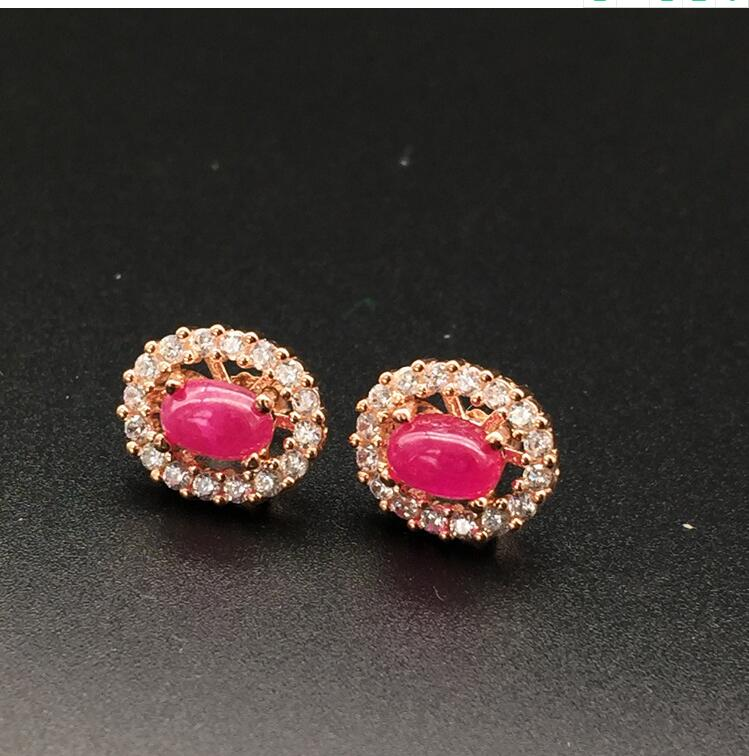 Ruby stud earring Natural and real ruby 925 sterling silver Fine jewelry 4*6mmRuby stud earring Natural and real ruby 925 sterling silver Fine jewelry 4*6mm