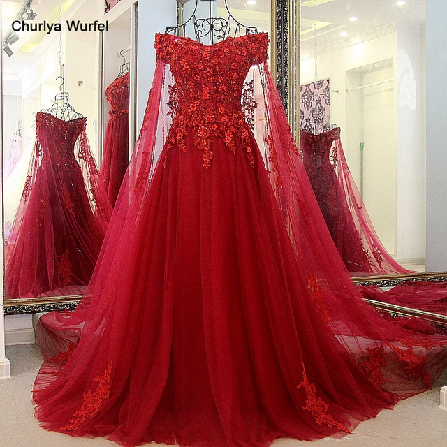 LS32474 elegant long evening dress with long cape tulle floor length off shoulder corset wine red Dresses for gratuating date