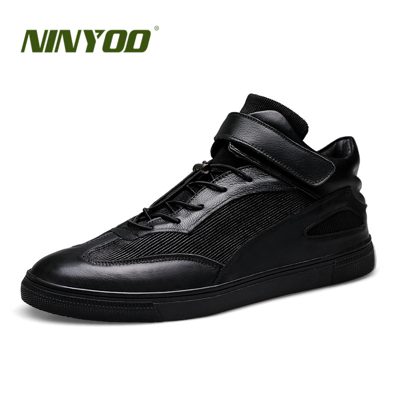 NINYOO Fashion Sneakers Men Casual Shoes Genuine Leather Flats Outdoor Breathable Black Students Ankle Shoes Man Plus Size 47 48