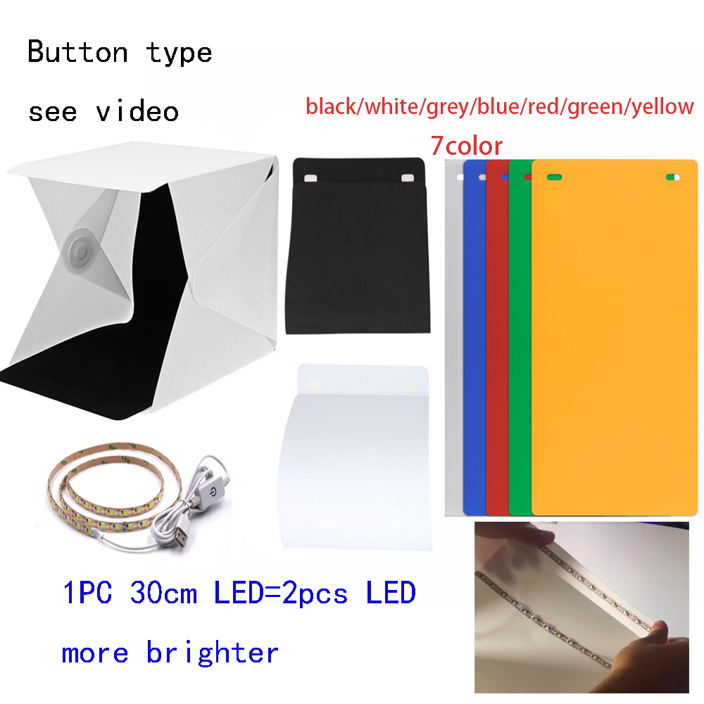 New Design Fixed by Button 2 LED Line Mini Lightbox Studio Photo Photography Tent Kit with Black White Backgrond USB LED light