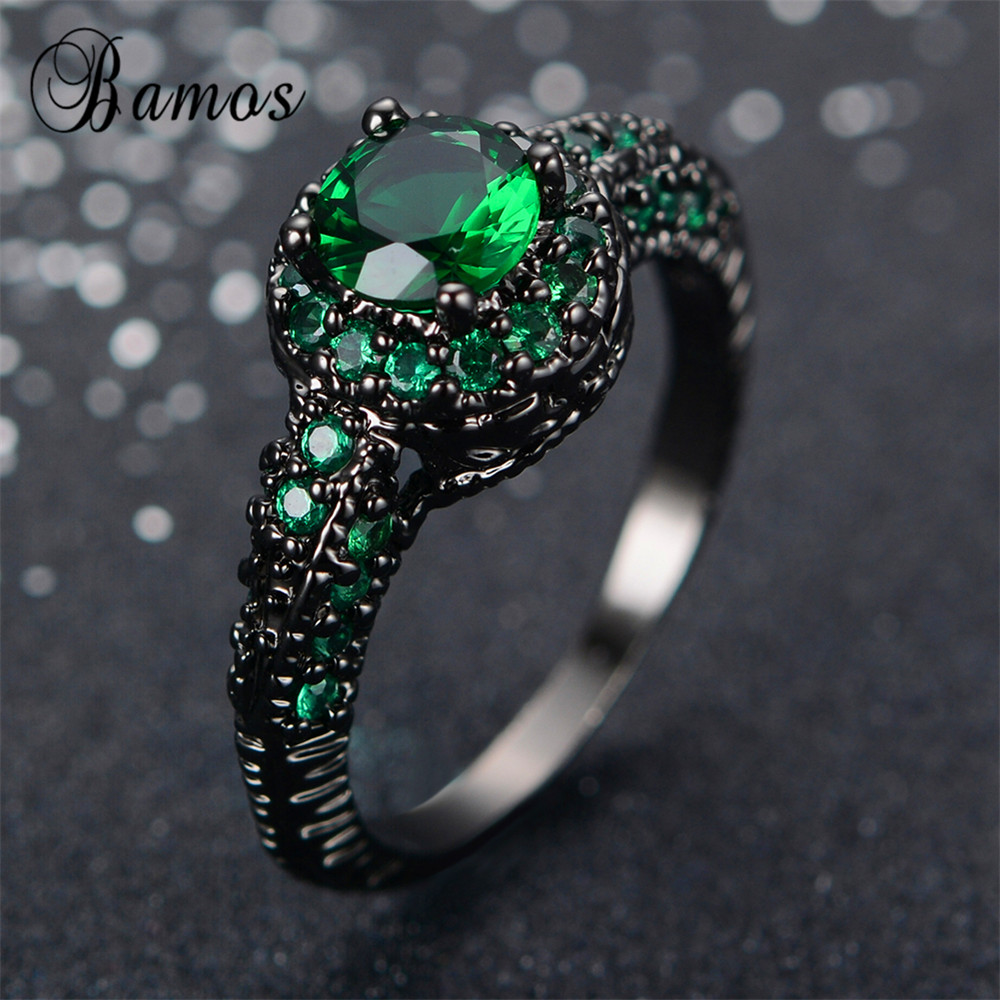 Fashion Female Green Ring Engagement Rings Black Gold Filled Jewelry  Vintage Wedding Rings For Women Bague