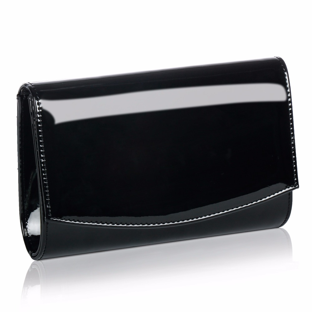 WALLYN'S Women Clutch Evening Bag Solid Color Genuine Patent Leather Handbag Women Wedding Ladies Chain Shoulder Bag Bolsas Sac luxury crystal clutch handbag women evening bag wedding party purses banquet