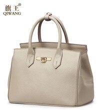 Top quality genuine leather bag QIWANG famous brands fashion gray women handbags Shoulder Messenger Bag Luxury women bag