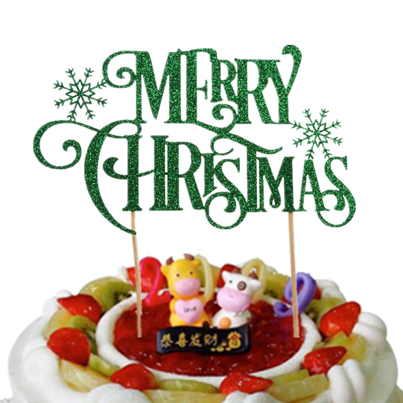 1pc Creative Christmas Cake Flag Merry Christmas With Snow Cake Topper For Xmas Home Party Cake Baking Decor Shiny Red Green