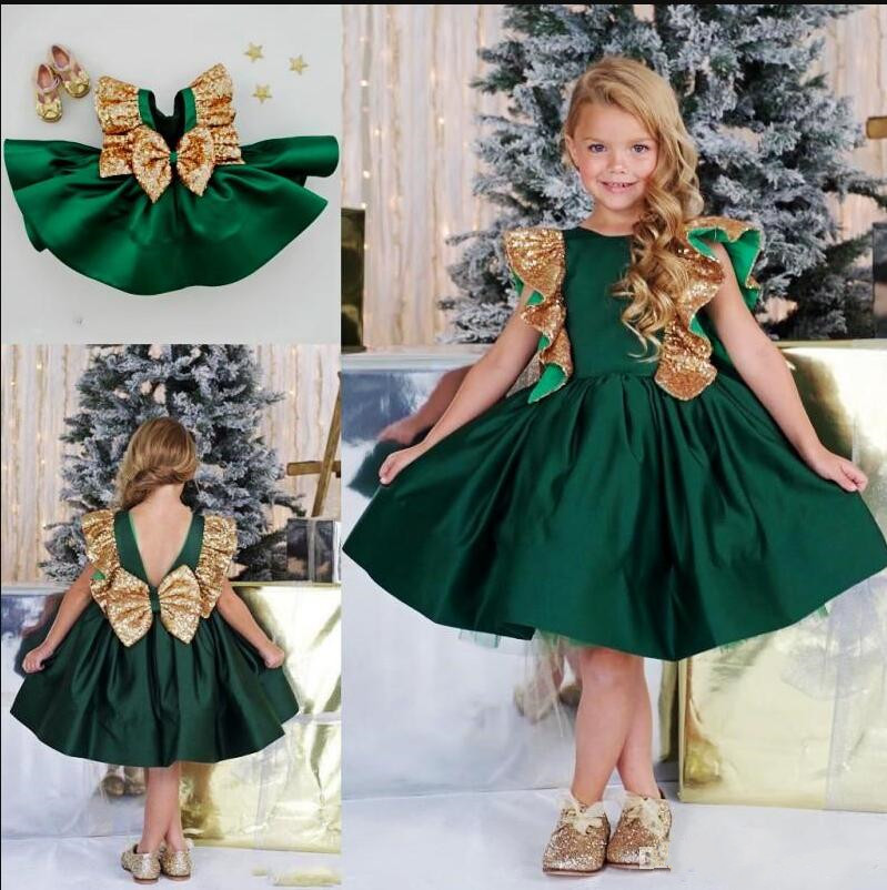 Gorgeous   Flower     Girl     Dresses   With Bow Sequins Backless Satin   Girls   Pageant Gowns Kids Prom   Dress   Birthday Party Gown Knee Length
