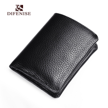 Difenise Men Mini Wallet all the first layer cowhide Leather Luxury Hasp solid fashion Man's Short wallets with Gift Retail box