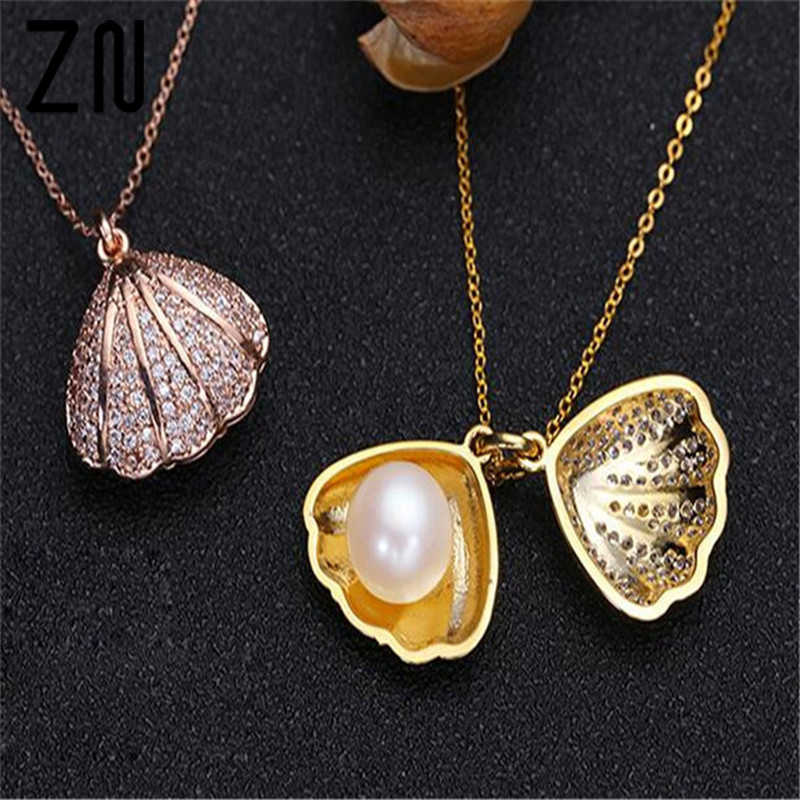 ZN Fashion 2018 Necklaces Pendants For Women Freshwater Pearl Shell Pendant Choker Necklace Women Statement Pendant Gift