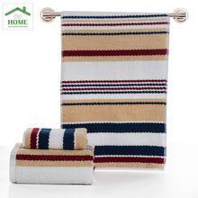 2 PCS Gray,Camel100% Cotton Towel Behome Hand Towel stripe Face towels bathroom Towels Sets 33cm*70cm