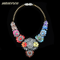 Manerson Shourouk Flower Wings Statement Necklaces Pendants Choker Maxi Colar Chain Steampunk Femme Collier Bijoux Jewelry