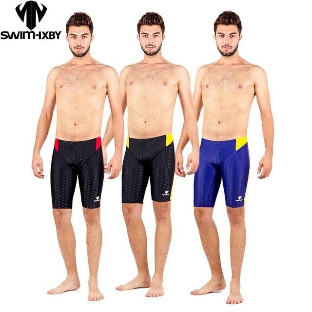 b3d0612f80 HXBY 2018 Swimsuit Boys Swimwear Men Swim Trunks Boxer Mens Swimming Trunks  Shorts Competition Sharkskin Swimsuits