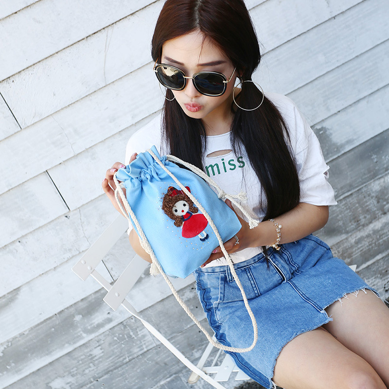 YILE Cotton Canvas Drawstring Satchel Cross Body String Girl Bag 5 Colors To Choose From 8507-7
