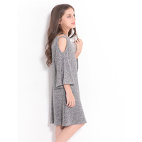RURMERACY Summer Teen Girls Dress Fashion Strapless Gray Children Dress for Teenage girl Kids Dress Big Girl clothing 120 160 cm