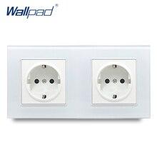 Wallpad Cristallo Temperato Pannello In Vetro Bianco 16A EU 110V 240V Doppia Presa A Muro UE 172*86MM Formato