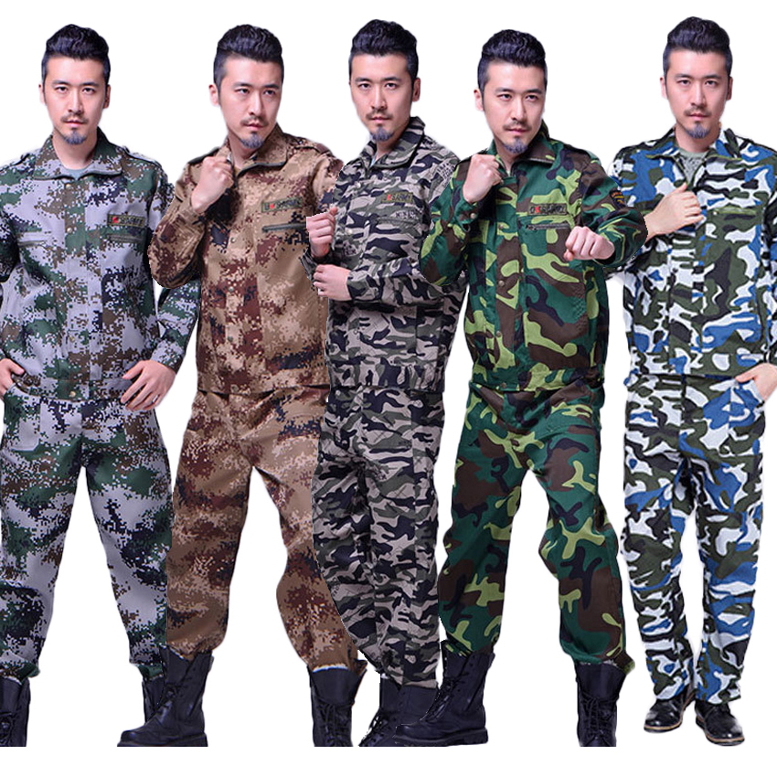 Man Military Desert Camouflage Print Uniform High Quality Chemical Fiber Tactical Combat Jacket Trousers Hunting Clothing Set