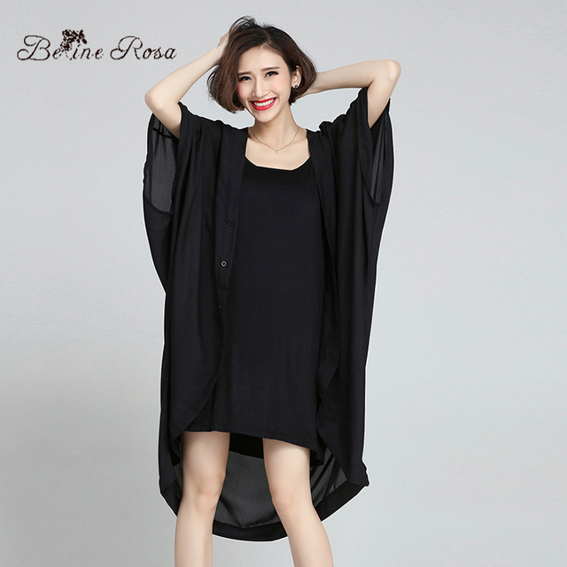 2016 Plus Size Trench Coat Casual Black Sun Protection Transparent Trench Coat for Women without Vest(BelineRosa HS0069)