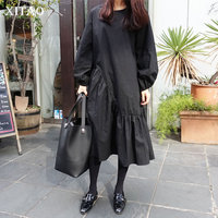 [XITAO] Spring 2018 New Arrival Loose O neck Fashion Female Dress Solid Color Full Sleeve Korean Irregular Ruffles Dress XWW3214