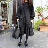 [XITAO] Spring 2018 New Arrival Loose O neck Fashion Female Dress Solid Color Full Sleeve Korean Irregular Ruffles Dress XWW3214