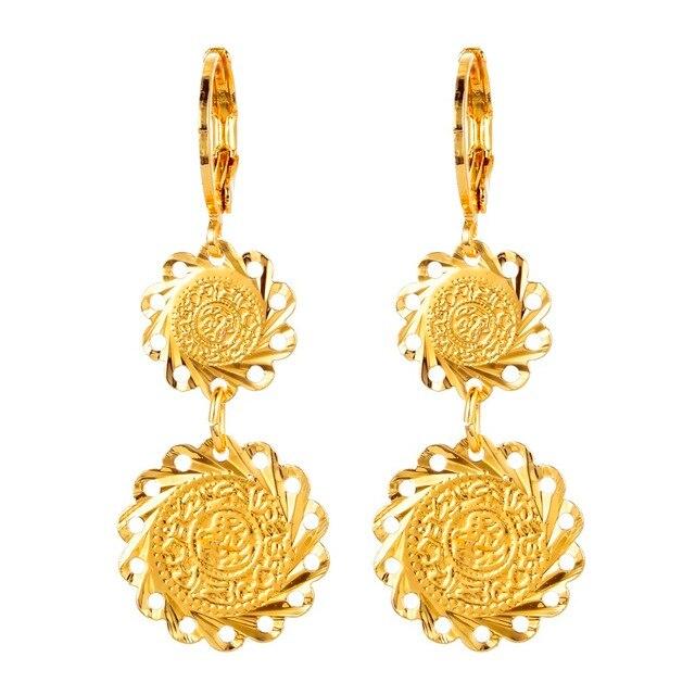 الذهب اللون العملات القديمة الأقراط مسلم الإسلامية مجوهرات للمرأة العربية نمط الأفريقية